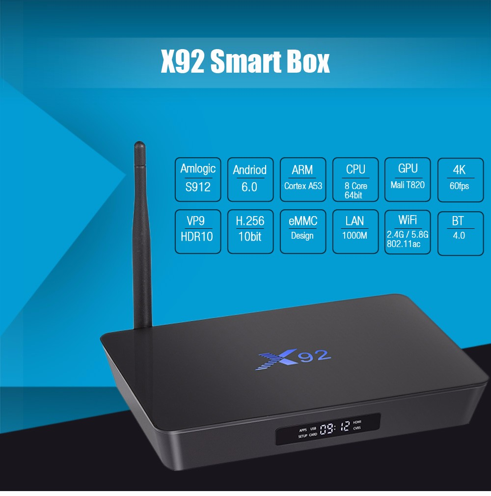 factory price X92 3Gb Ram Amlogic S912 Android 7.0 Smart Tv Box
