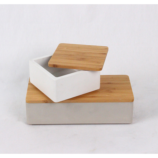 Fancy Square or rectangle concrete wood craft square storage box with Acacia wood lid
