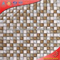 Beige Color Hall Tiles Glass Mosaic Mix Stone Crystal Mosaic Decorative Murals Tilings (KS31)