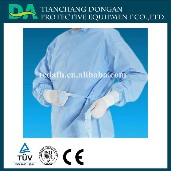 Non Woven Cloth for Surgery/Surgical Gown with Elastic Cuff