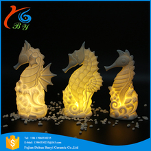 led night light desktop decoration gifts ceramic seahorse figurine