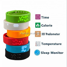 W2 3D Pedometer Temperature Sleep Monitor Smart Bracelet Sport Smart Watch for men women
