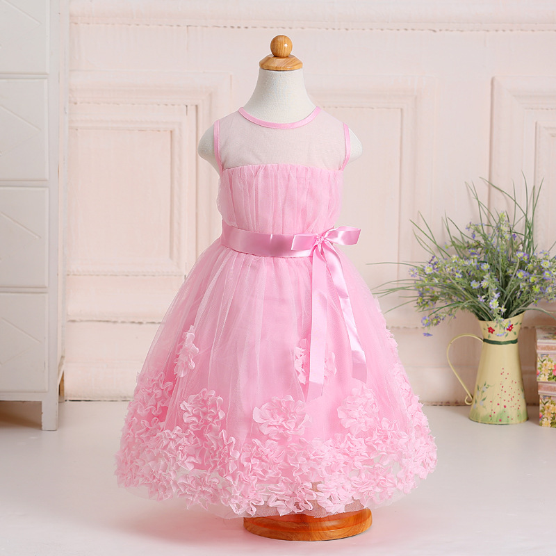 New children's lace flowers printing sleeveless dress new design children's dress wholesale children's boutique clothing