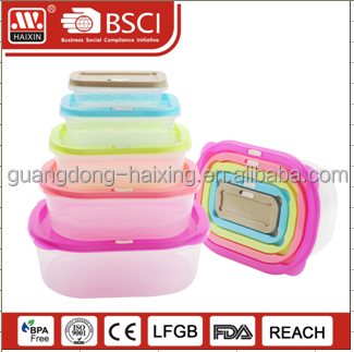 7PCS clear transparent Plastic Lunch Box Color customized Food Storage Containers
