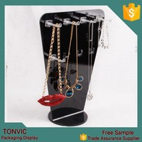Wholesale Black Acrylic Neck Shape Jewelry Necklace Display Stand With 2 tiers Hook