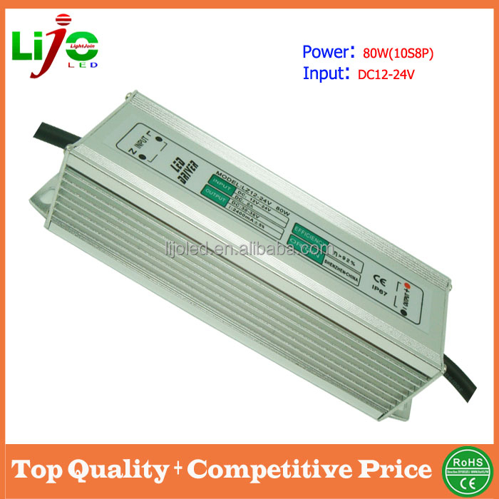 online shopping 80w led power driver 2400ma constant current dc12-24v waterproof external roadlamp outdoor led light driver