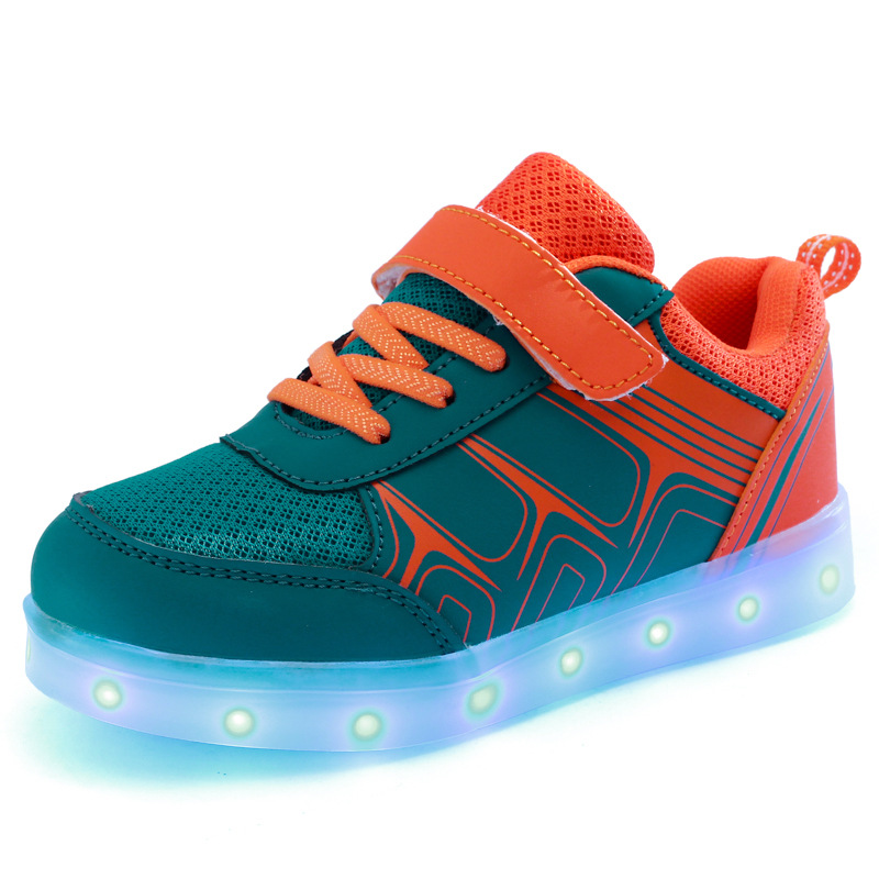2017 Newest Fancy Cheap USB Charging Colorful LED Light Children Shoes Kids Running Shoes