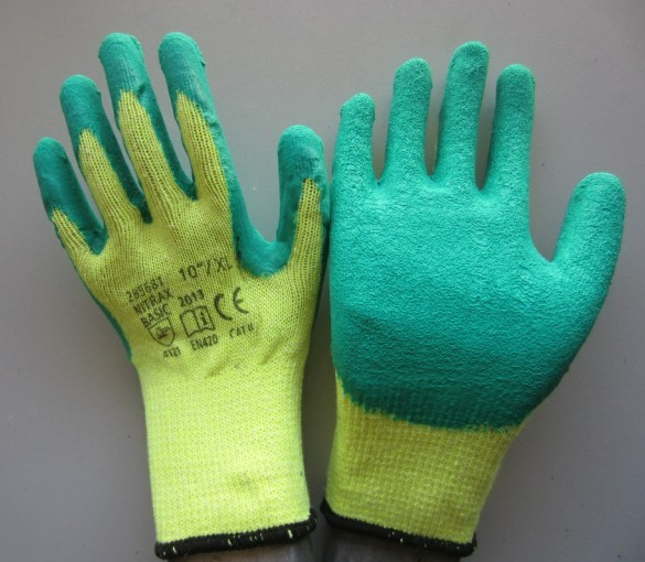 10gauge cotton liner natural latex coated safety gloves