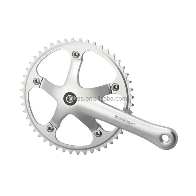 Aluminum Alloy Crankset Bicycle Parts For Fixed Gear Bike Chinese Factory Supply High Quality Silver Bicycle Chainwheel & Crank