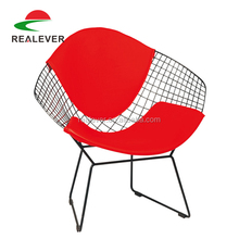 Replica diamond metal dining wire chair with seat cushion