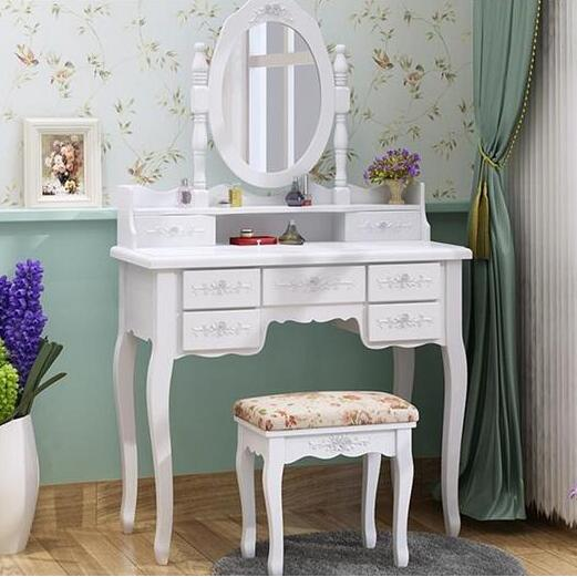 Top Selling white Wood Dressing Table Designs in bedroom furniture 7 drawers Make up dresser