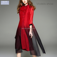red muslim dresses Chinese style improved cheongsam silk long sleeve cotton maxi dress