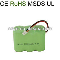 nimh sc battery pack 7.2v 3600mAh for electric tools