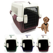 pet plastic kennel carrier travel dog cat cage crate 14x14x22 light weight case