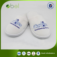 yangzhou disposable custom hotel white cotton fabric slippers
