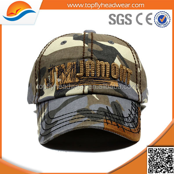 custom 6 panel cotton blue camo applique embroidery baseball cap/hat sports direct