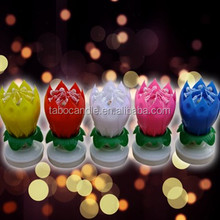 birthday gift wholesale lotus flower rotating music candle