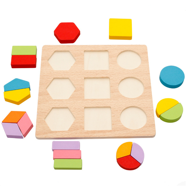 Shape matching custom 3d wooden cube jigsaw puzzle