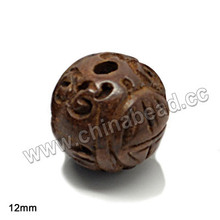 Popular round brown wood beads 12mm longevity Chinese symbol wooden bead