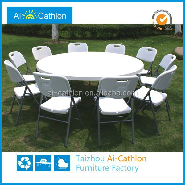 HDPE Material And Yes Folding 6FT Plastic Round Table,180cm Foldable Banquet Round Folding Tables