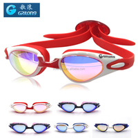 china swimming goggle with red silicone gasket adjustable nose bridge goggle