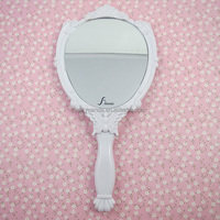 hand held cosmetic mirror / plastic hand carved mirror frame / folding princess hand mirror
