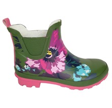 elegant floral ladies rubber rain boot with floral pattern wellies