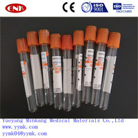 Disposable orange cap vacuum blood test tube