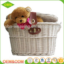 Wicker bicycle basket handmade natrual high quality woven basket with lid