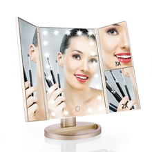 SM215G Gold plastic 3 panel foldable 1X 2X 3X magnifier 21 led lights USB chargeable makeup mirror