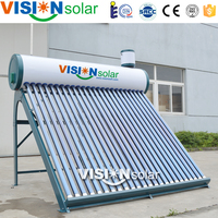 Painted color steel out tank low cost solar water heaters with vacuum tube collector
