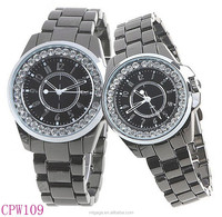 Alloy Band & Rhinestones Decor for Lover Couples lim stone quartz watch