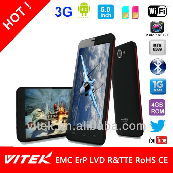 5.0 inch 13M Camera Android Mobile Phone MTK6589 Quad Core in Private design