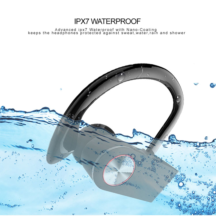 2018 waterproof BT headphone with ear hook hot selling in Amazon new product TWS earbuds