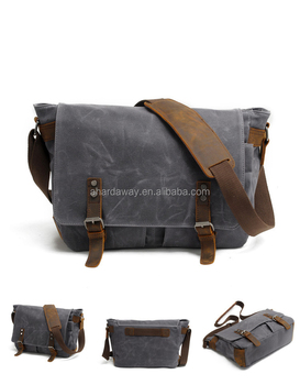 "Vintage Leather Waxed Canvas Messenger Bag for 14"" Laptop"