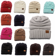13 colors in stock -- Fashion styles and high quality CC beanie custom logo acrylic knit hat