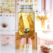 1 gallon Glass Mason Jar Beverage Drink Dispenser On bamboo Stand With Leak Free Spigot / faucet, Clear