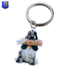 Cute Animal printed dog shaped metal key chain