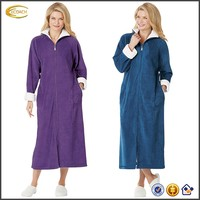 Ecoach Wholesale OEM Full Zip-Front Robe Handy Side-Seam Pockets Bright White Trimmed Cozy Warm Full Length Nightgown For Women