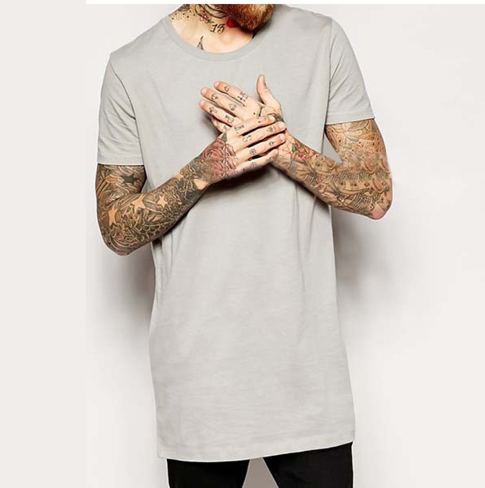 OEM Mens Gray Soft And Thin Plain Long Length T-shirts