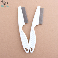 White Plastic Handle Pet Hair Comb Dense Tooth Dog Flea Comb