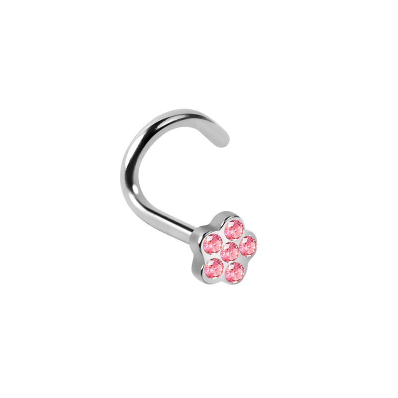 Best selling stainless steel nose ring designs crystal flower nose screw wholesale