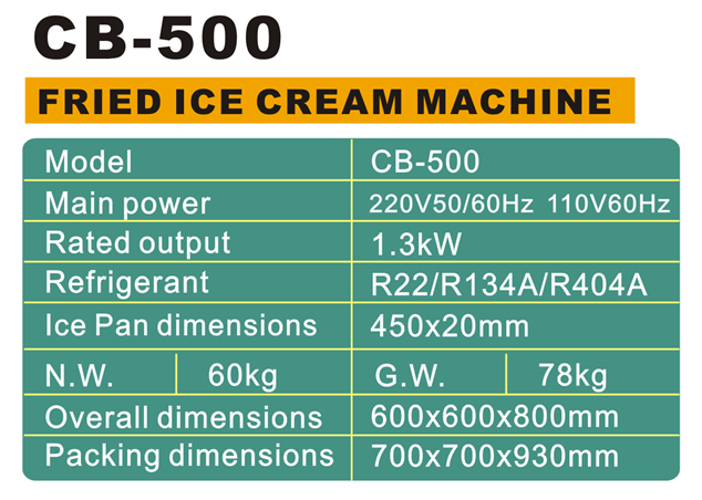 Commercial Thai Fried Ice Cream Rolls Pan 60HZ Large Capacity Flat Roll Ice Cream Machine