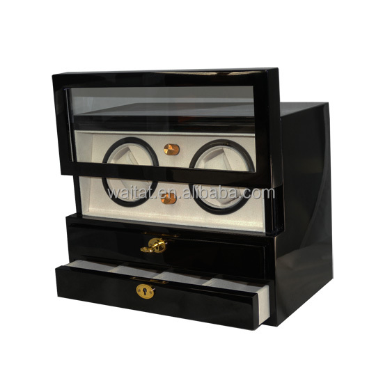 Elegant Glossy Black Super Mute Wooden Double Watch Winder