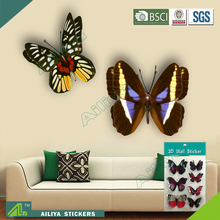 China wholesale reusable glossy 3d cheap glitter face butterfly pvc wall sticker