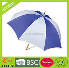straight white and blue color golf umbrella, 190 Polyester fabric and straight wooden handle for promotion