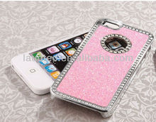 Hot selling Pink Diamond Rhinestone Glitter Bling Chrome Hard Case Cover for Apple iPhone 5 5G