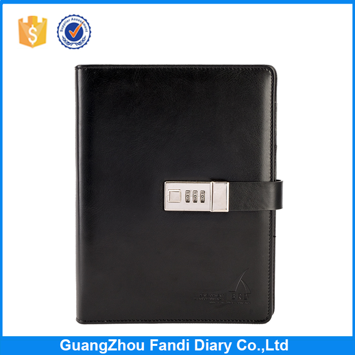 2016 promotional pu combination lock diary notebooks