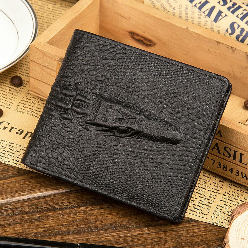 Baellerry European and American new men's short retro genuine leather crocodile pattern wallet hot selling US dollars purse