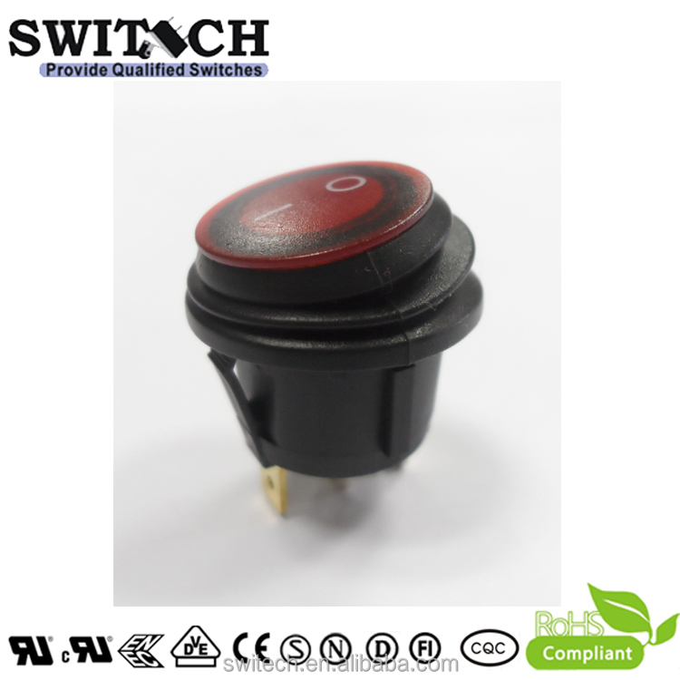 Red Fold Round Button Waterproof IP65 Led ON-OFF 3 Foot Boat Rocker Switch